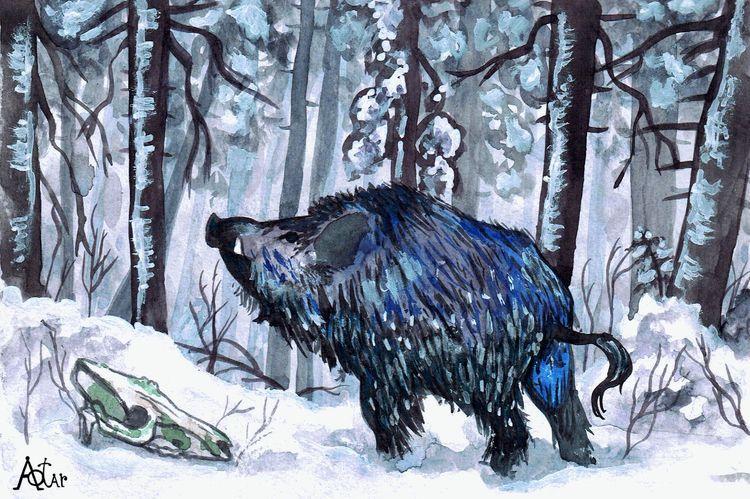 Contemplation 2021 - painting, boar - aotar-le-quaint | ello