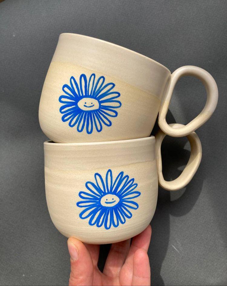 Cute ceramic mugs hand-painted  - irynagarkusha | ello