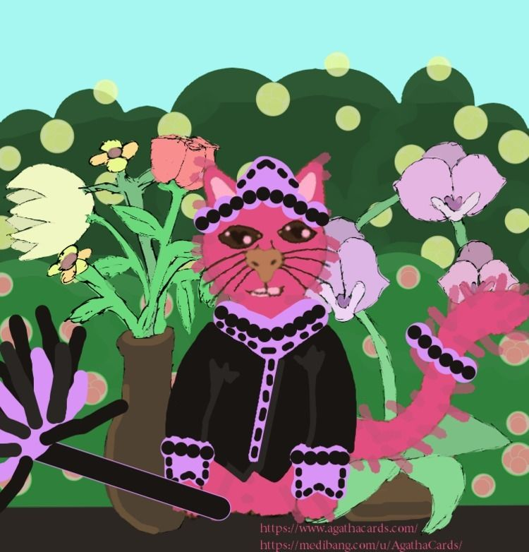 Monday day Pink Maid Cat Spring - agathacards | ello