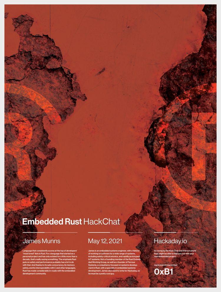 Embedded Rust HackChat - poster - randomwalks | ello