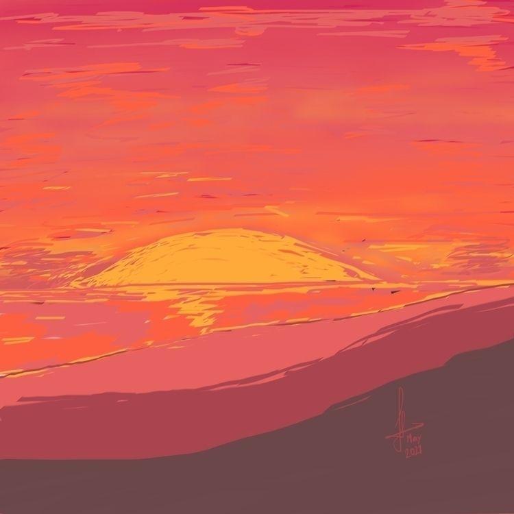 sunset study 2021) chisel brush - ferdiz | ello