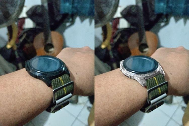 Turning black-cased wristwatch  - ferdiz   ello