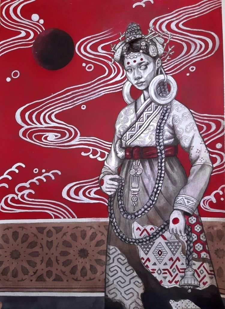 Lady braid (2021) 29.5 42cm Ink - lukegrayart | ello
