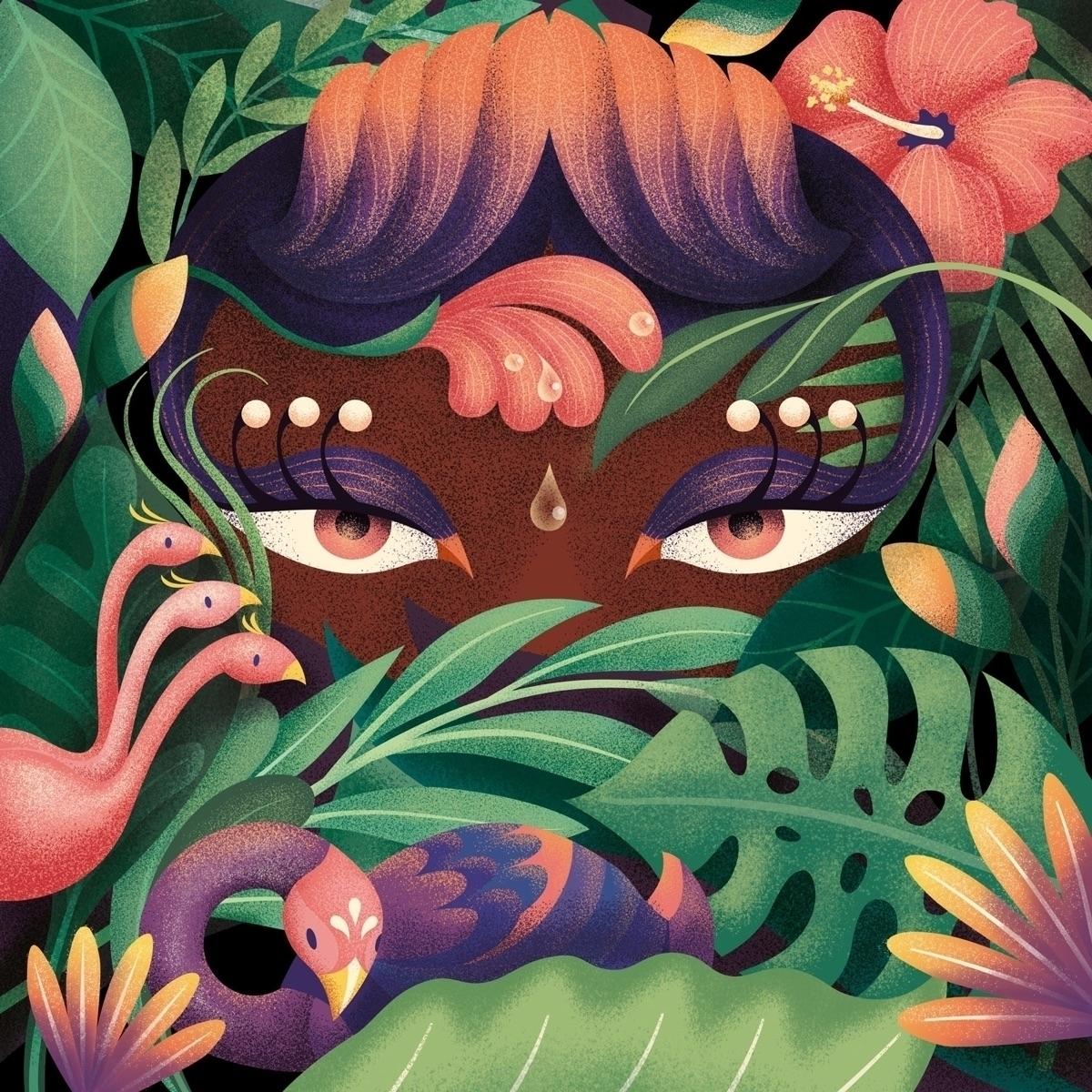 Jungle Eyes - illustration, jungle - juliakerschbaumer | ello