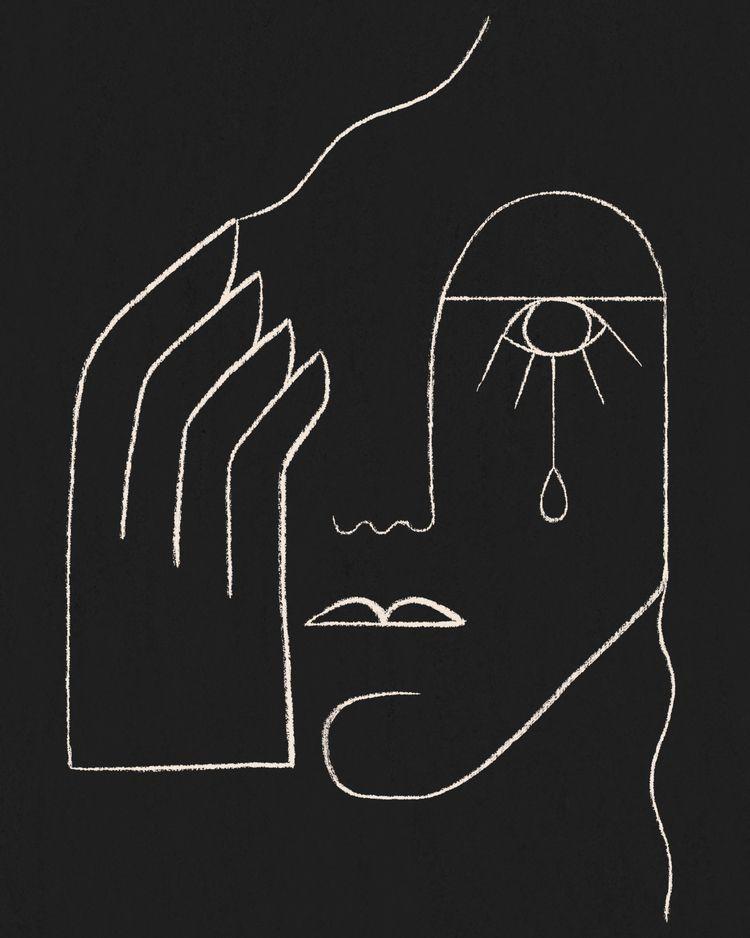 cry - illustration, lineart - kitagar | ello