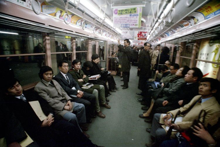 Tokyo 1973 Riding subway Photog - nickdewolfphotoarchive | ello