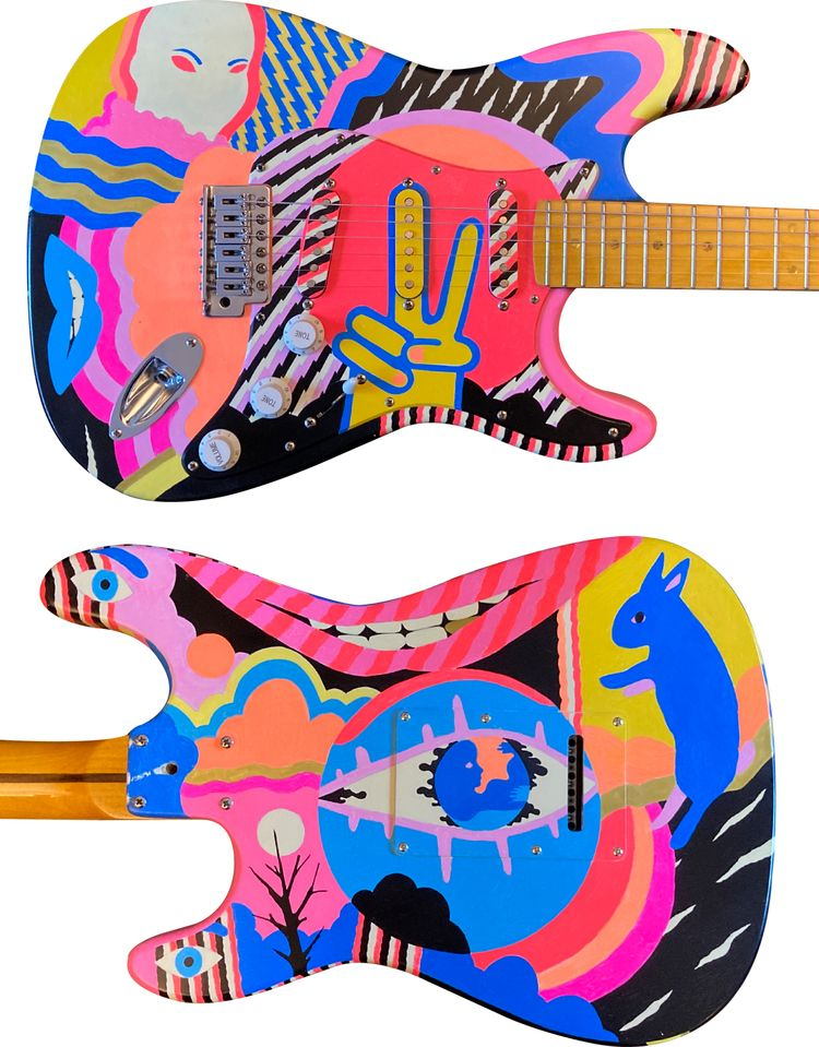 Eyes Lips - painted guitar - undianuevo   ello