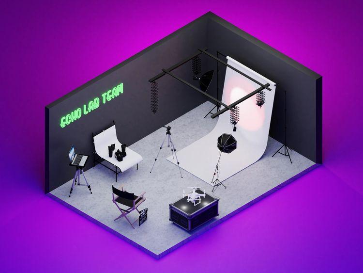 Hey photoshoot studio, 3D scene - echolab   ello