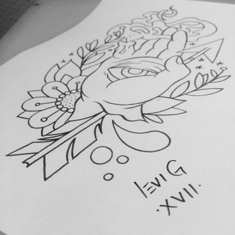 hand fire tattoo drawing, fer g - levigreenacres | ello
