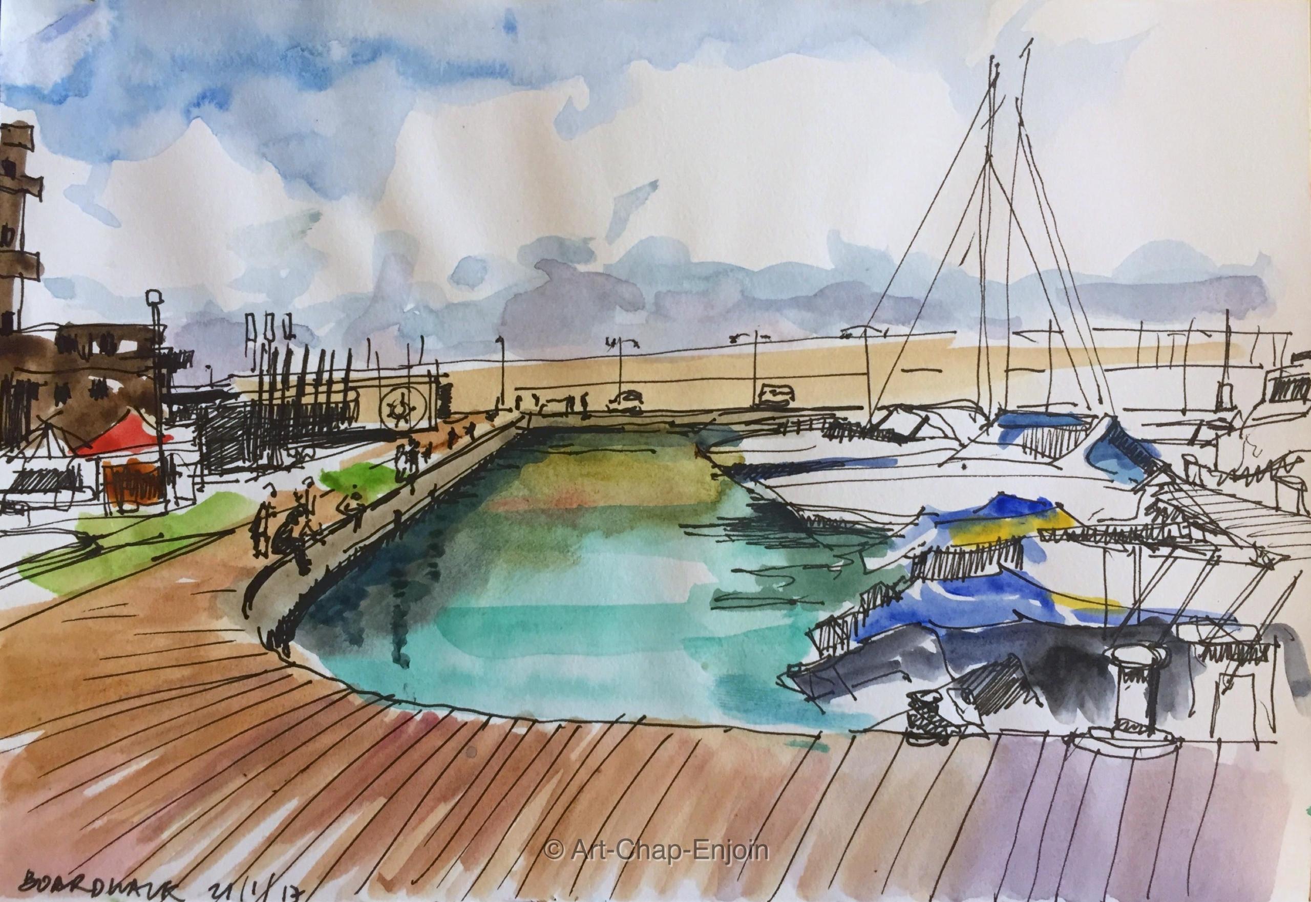 291 - Boardwalk Here watercolou - artchapenjoin   ello