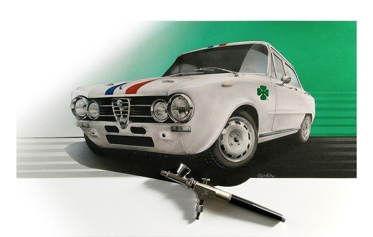 Alfa Giulia 1600, airbrush work - elineart | ello