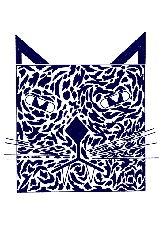 cat drawing ink blue - mvictoriarodriguez | ello