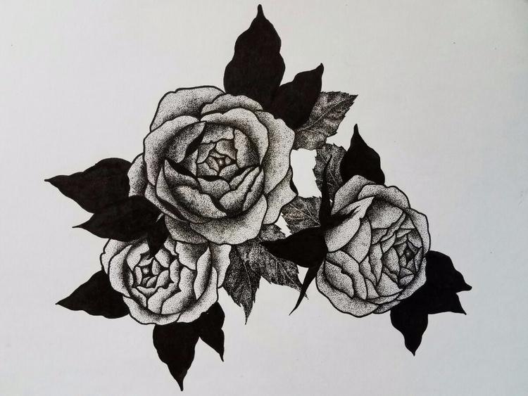 Roses pointalism stippling - _hellsea | ello