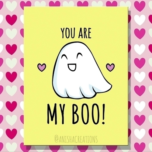 BOO! cute funny love ghost cart - anishacreations | ello