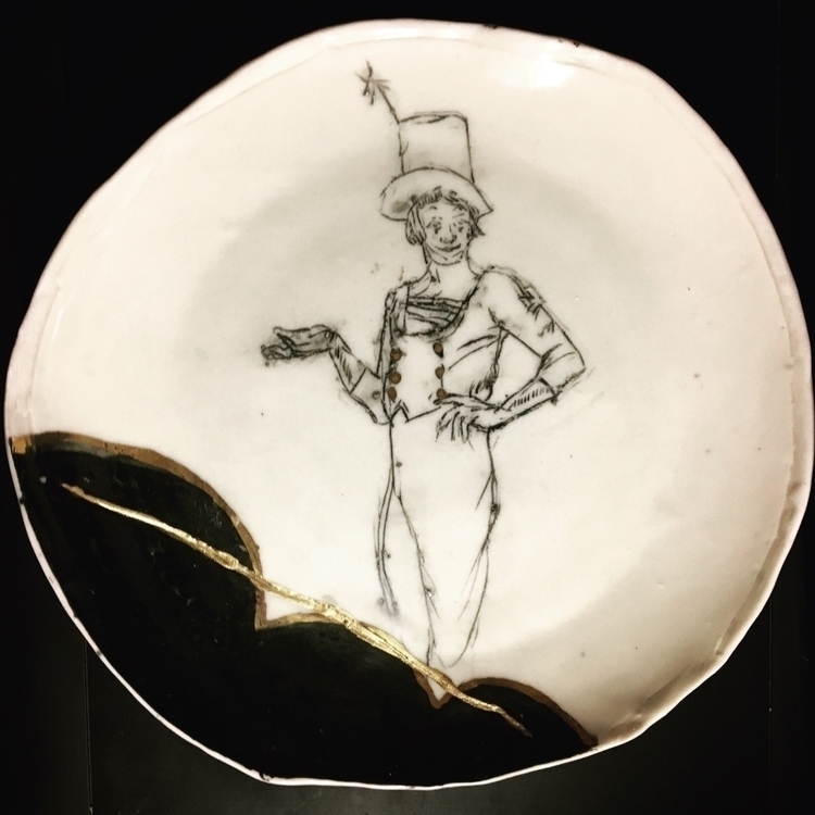 Mime Plate 1 Porcelain gold por - secondbreakfastdesign | ello