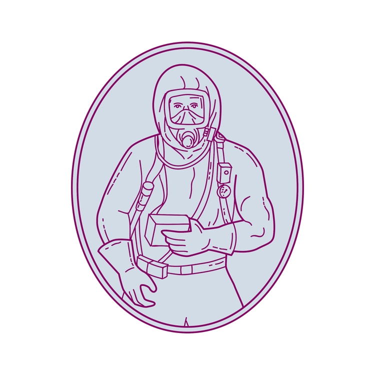 Worker Haz Chem Suit Oval Mono  - patrimonio | ello