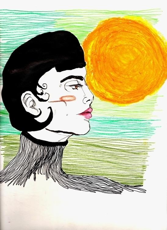 """Sunflower"", ink, oil crayons p - valentinatassalini | ello"