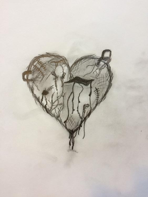 broken brokenheart heart sketch - savannagrace99 | ello