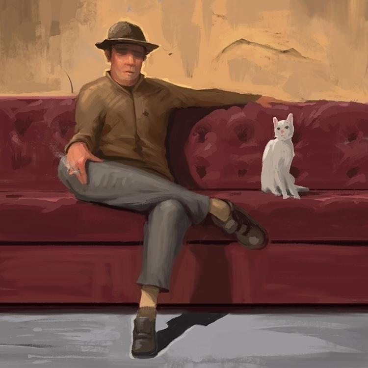 White cat painting illustration - claybrooks   ello