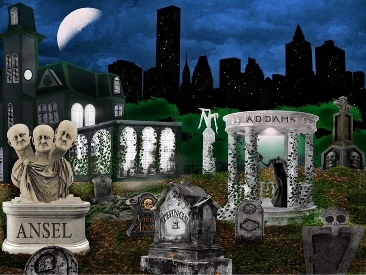 Addams Family Graveyard art wor - therhinoking | ello