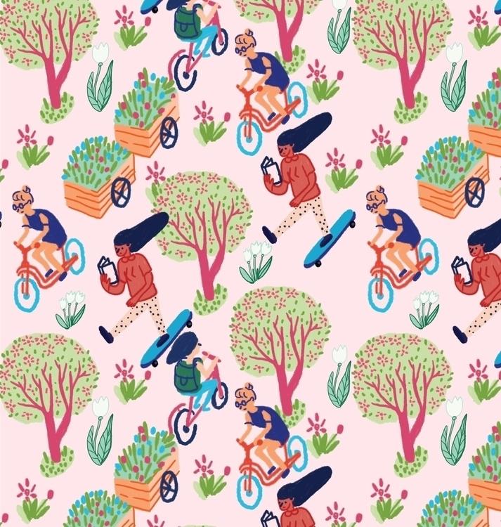 Spring coming - pattern, naive, drawing - loretaisac   ello