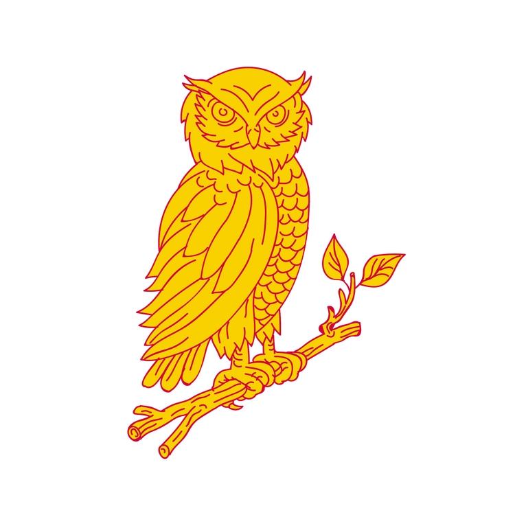 Mono Line - Horned, Owl, Perching - patrimonio | ello