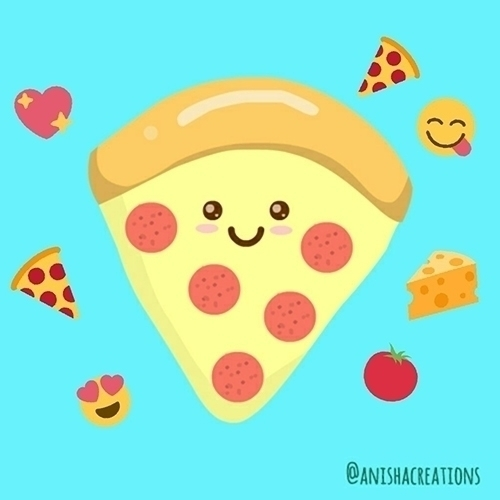 pizza - cute, kawaii, food, illustration - anishacreations | ello