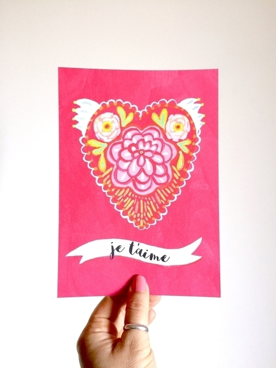 rich pink heart rose print perf - klikadesign | ello