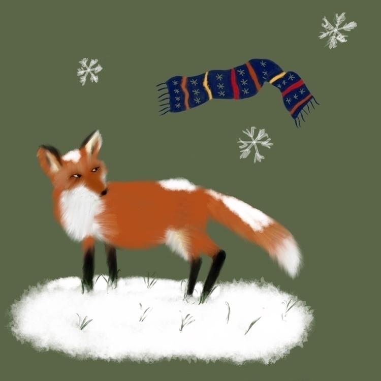 Fox snow - illustration, drawing - teapotsforelephants | ello