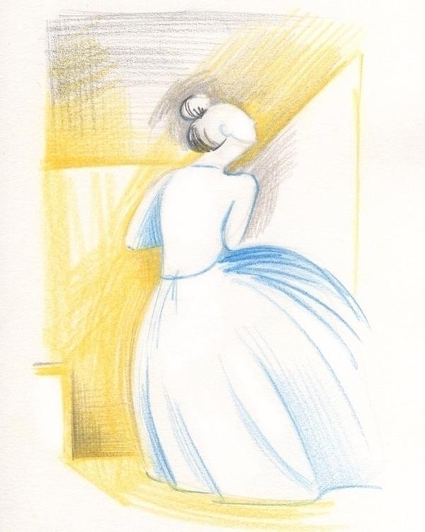 Blue yellow - illustration, drawing - tereau | ello