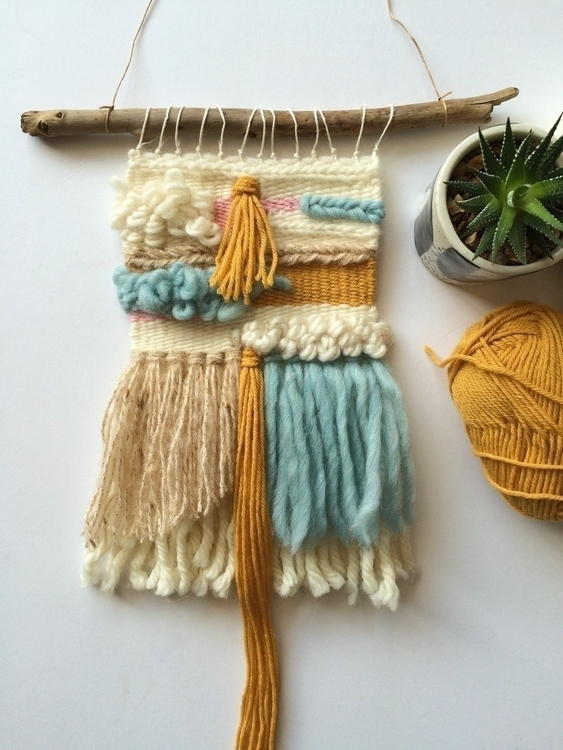 Gold love - weaving, wallhanging - themakersheart | ello