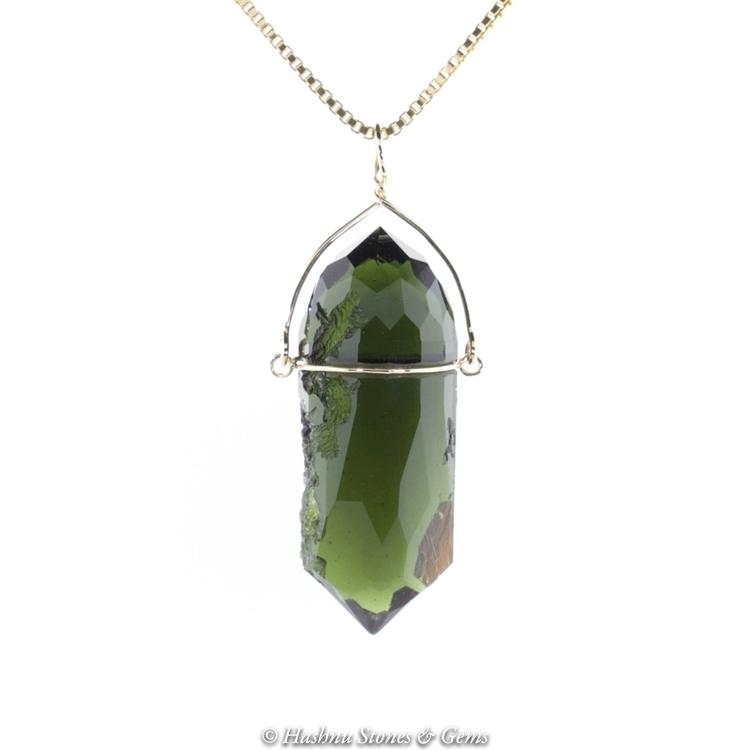 Faceted Moldavite Pendulum natu - hashnu   ello