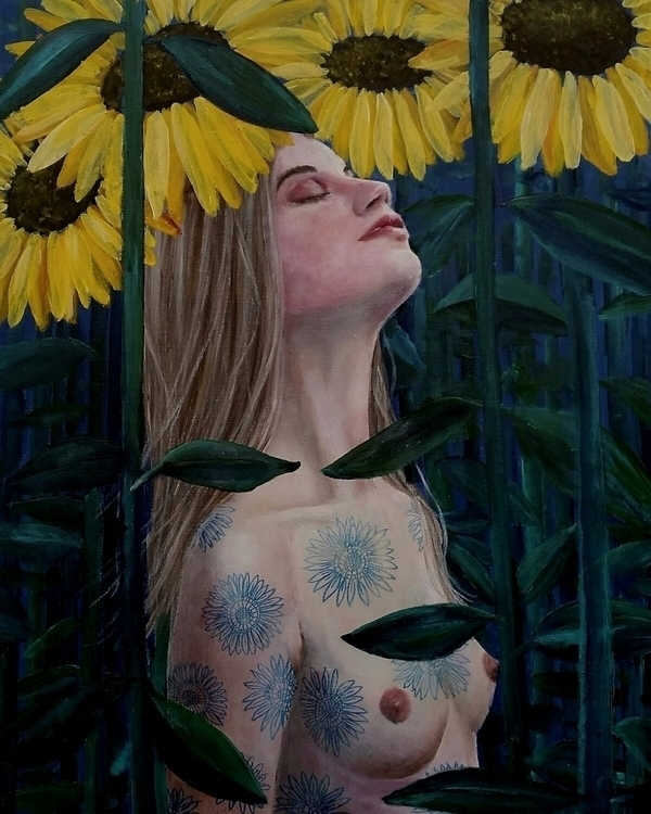 Sunflowers. Acrylics canvas - hannefeldt | ello