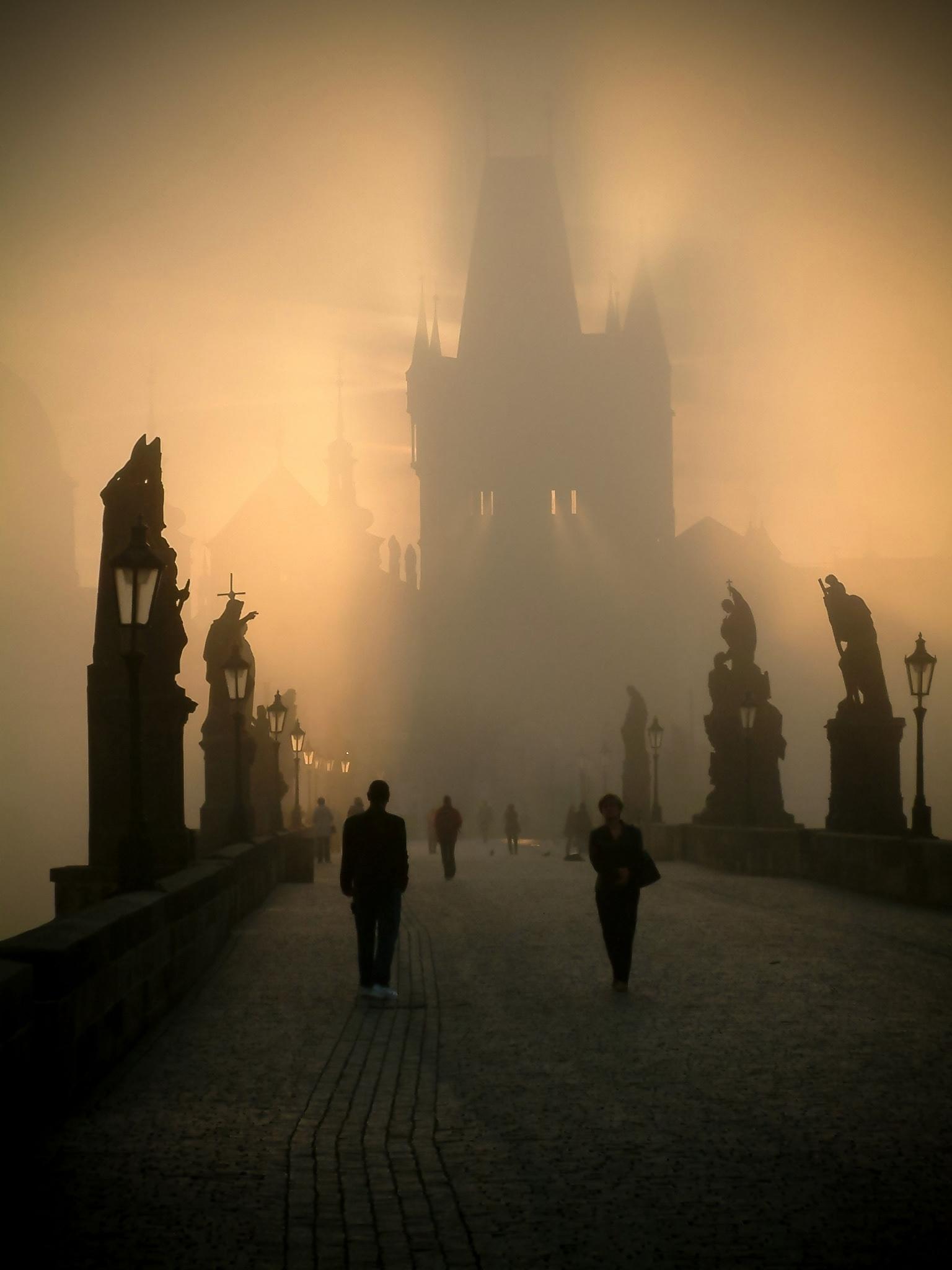 Charles Bridge misty dawn - darylws | ello