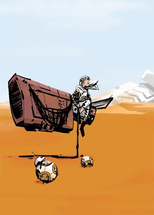 Fan Art Friday 7: Rey BB-8) sce - maljones | ello