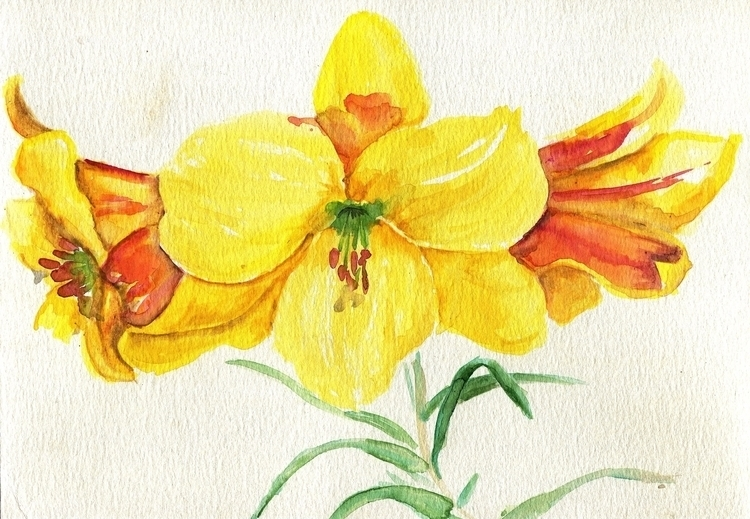 Golden Trumpets Watercolor Pape - havekat | ello
