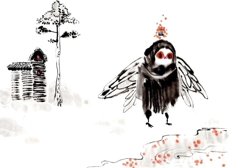 Fly Queen - ink, ricepaper, illustration - anneliolanderberglund   ello