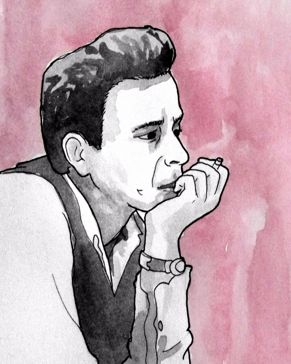 Portrait 17 - johnnycash, art, ink - todrawtoday | ello