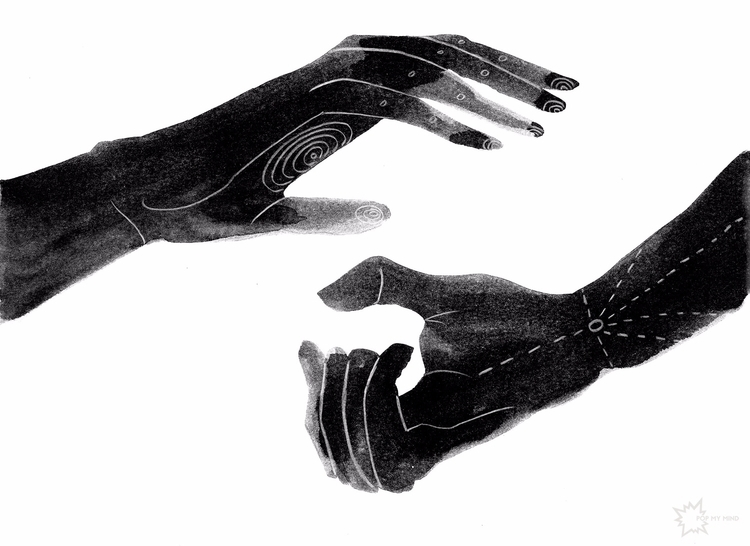 Healing Hands (30x40cms ink pen - popmymind | ello
