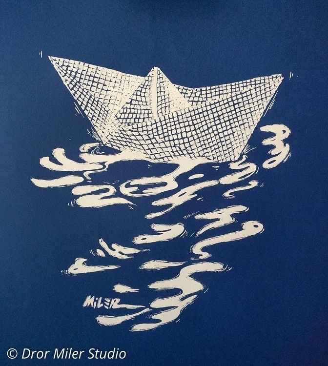 Paperboat - White, handmade, screenprint - drormiler | ello