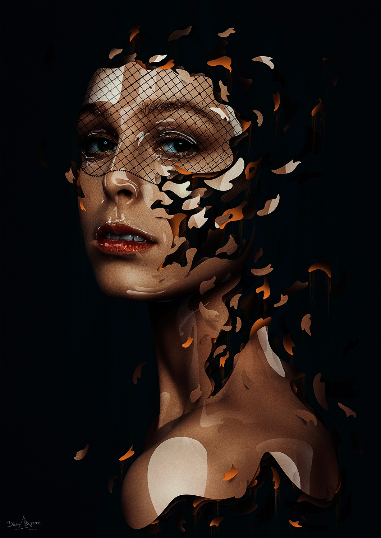 february - art, portrait, orange - dielm | ello