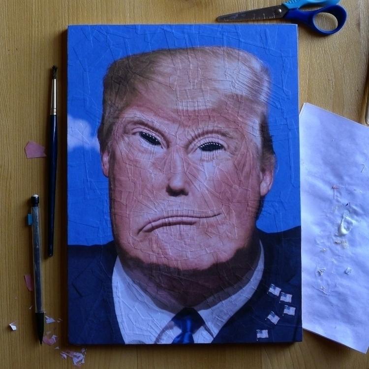 Trump 1, Paper collage panel, 2 - loladupre | ello
