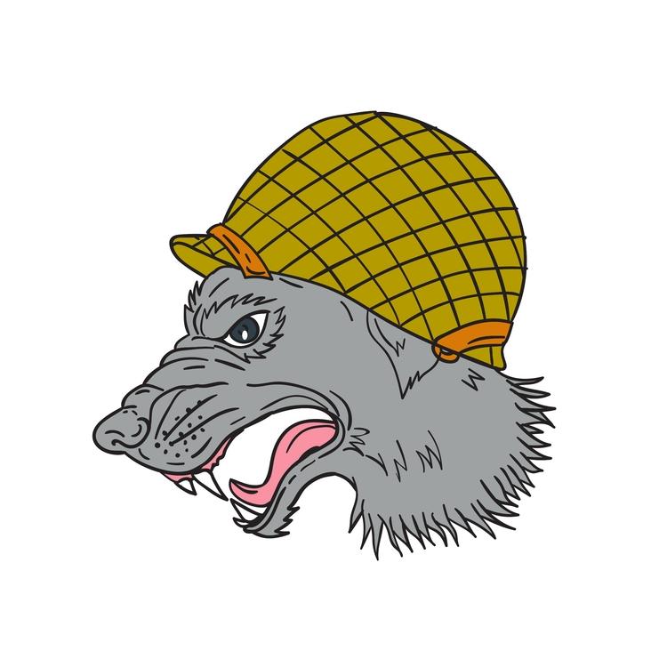 Grey Head WW2 - Wolf, Growling, Helmet - patrimonio | ello