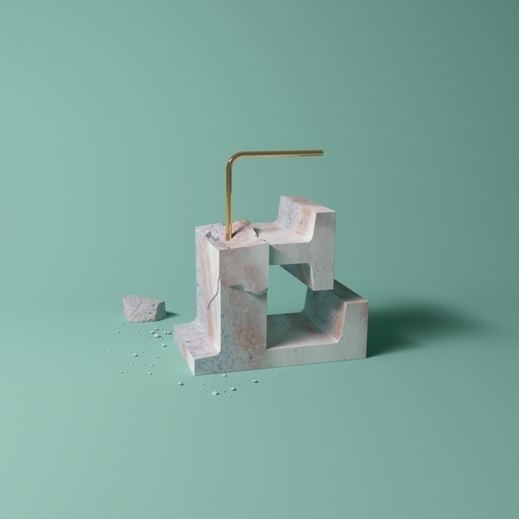 Letter - marble, type, art, cgi - molistudio   ello