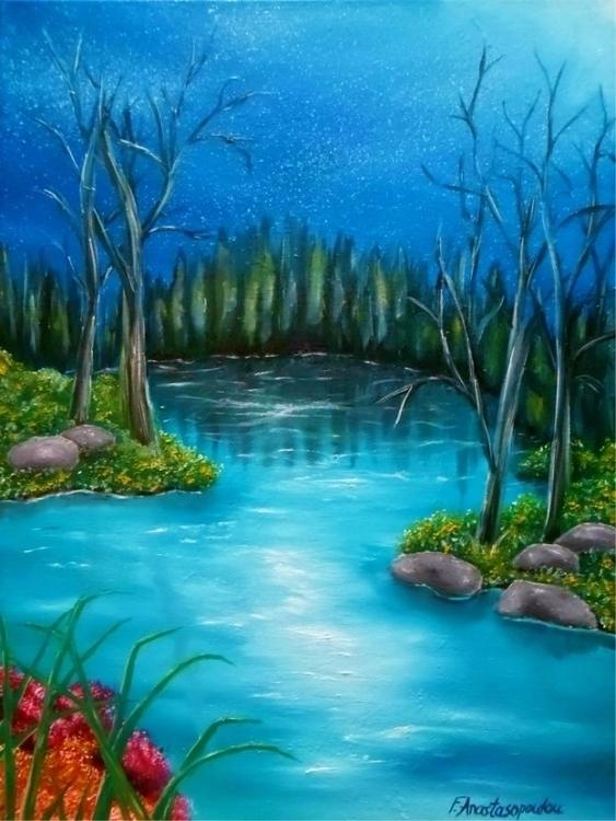 painting, art, prints, river - fayeanastasopoulou | ello
