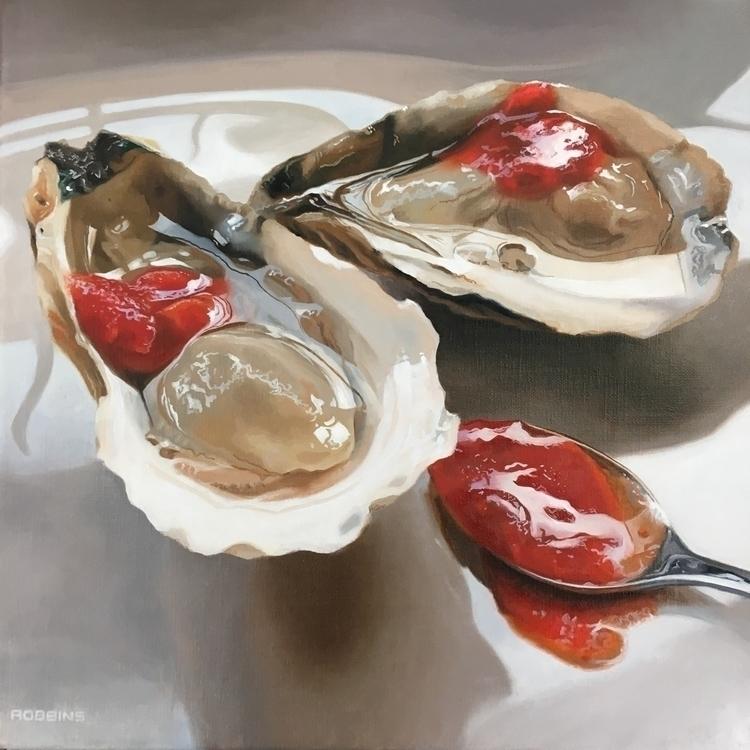 """2 sexy oysters spoon"" 12x12 oi - nadinerobbinsart | ello"