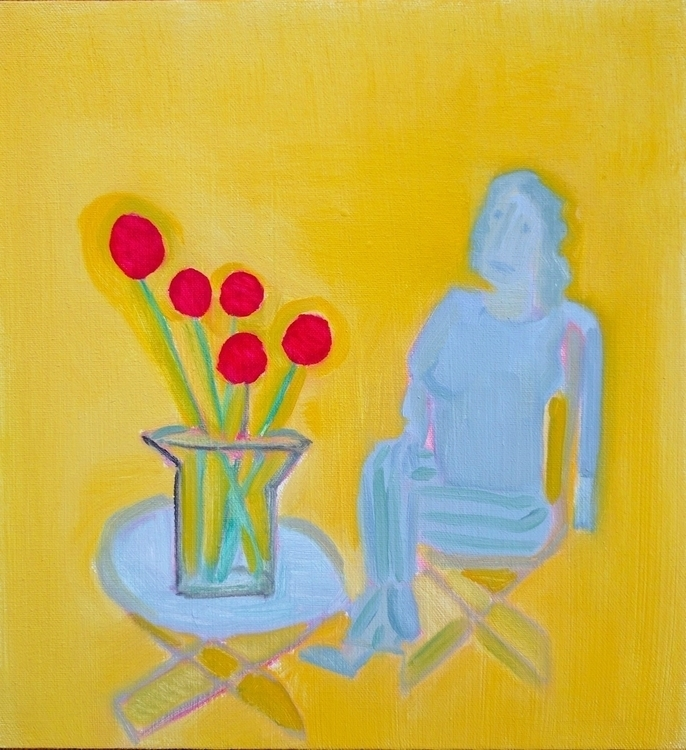 Seated Woman Flowers oil/canvas - markbarry | ello