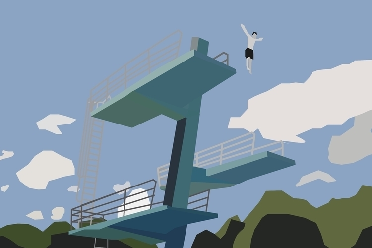 Illustration, architecture, divingtower - sophieillustration | ello