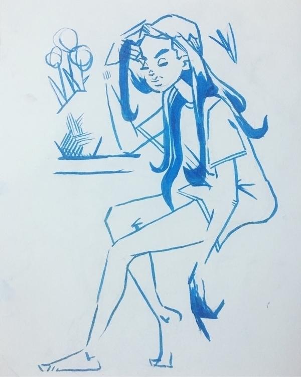women, blues, morning, flora - evandileo | ello