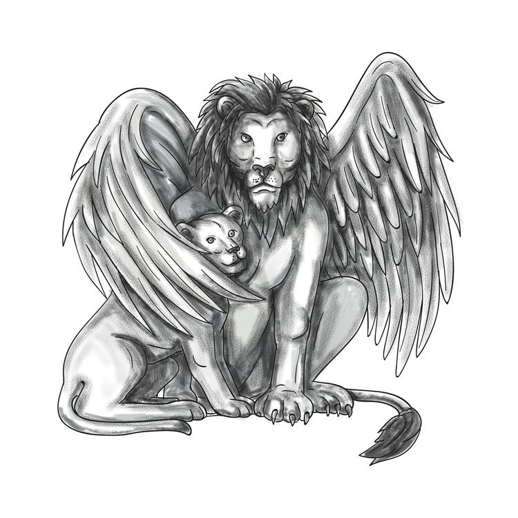 Protecting - Winged, Lion, Cub, Tattoo - patrimonio | ello